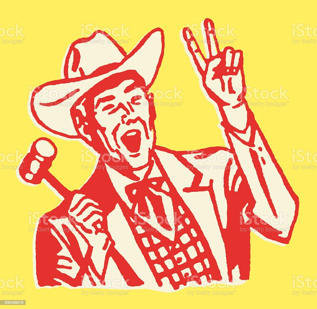 Western Auctioneer with Two Fingers up and Gavel in Hand vector art illustration
