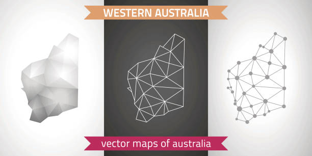 western australia collection of vector design modern maps, gray and black and silver dot outline mosaic 3d map - western australia stock illustrations