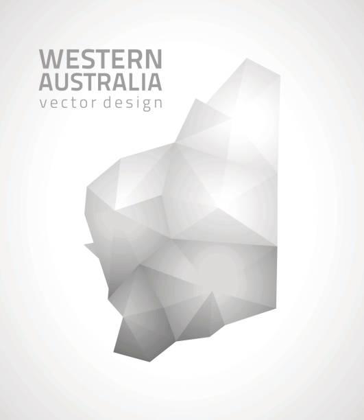western australia polygonal grey and silver vector mosaic map - western australia stock illustrations