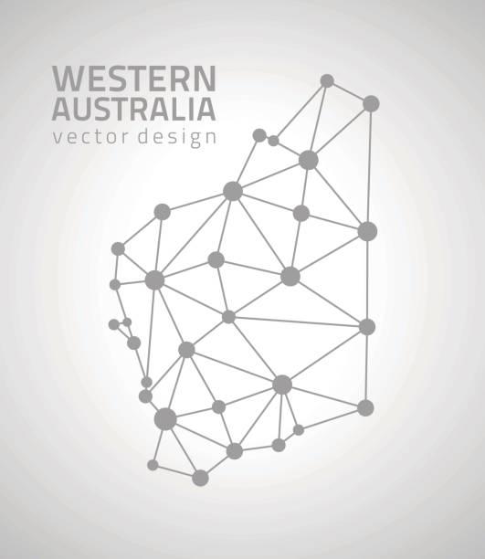 western australia vector dot grey outline triangle perspective modern map - western australia stock illustrations