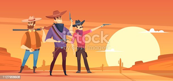 istock Western background. Dessert silhouettes and cowboys on horses wildlife vector illustrations 1127958608