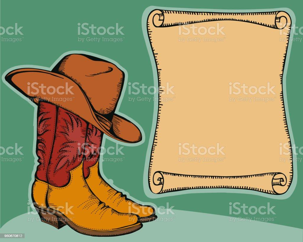 Fondo oeste con botas vaqueras y sombrero. Ilustración de vector color  ilustración de fondo oeste d4ef9d9100b
