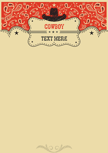 Western background with cowboy hat and board for text.Vector cowboy background