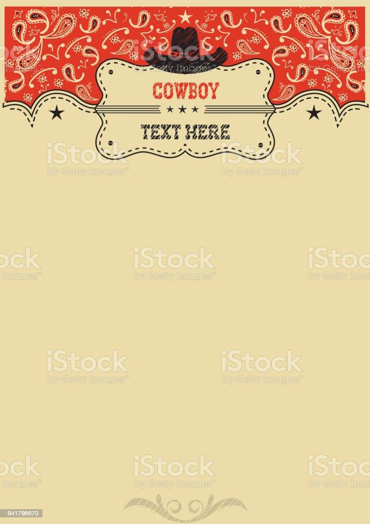 Fundo ocidental com chapéu de cowboy e placa para texto. Fundo de vaqueiro vector - ilustração de arte em vetor