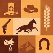 Western horse and cowboy elements. EPS 10 file. Transparency effects used on highlight elements.