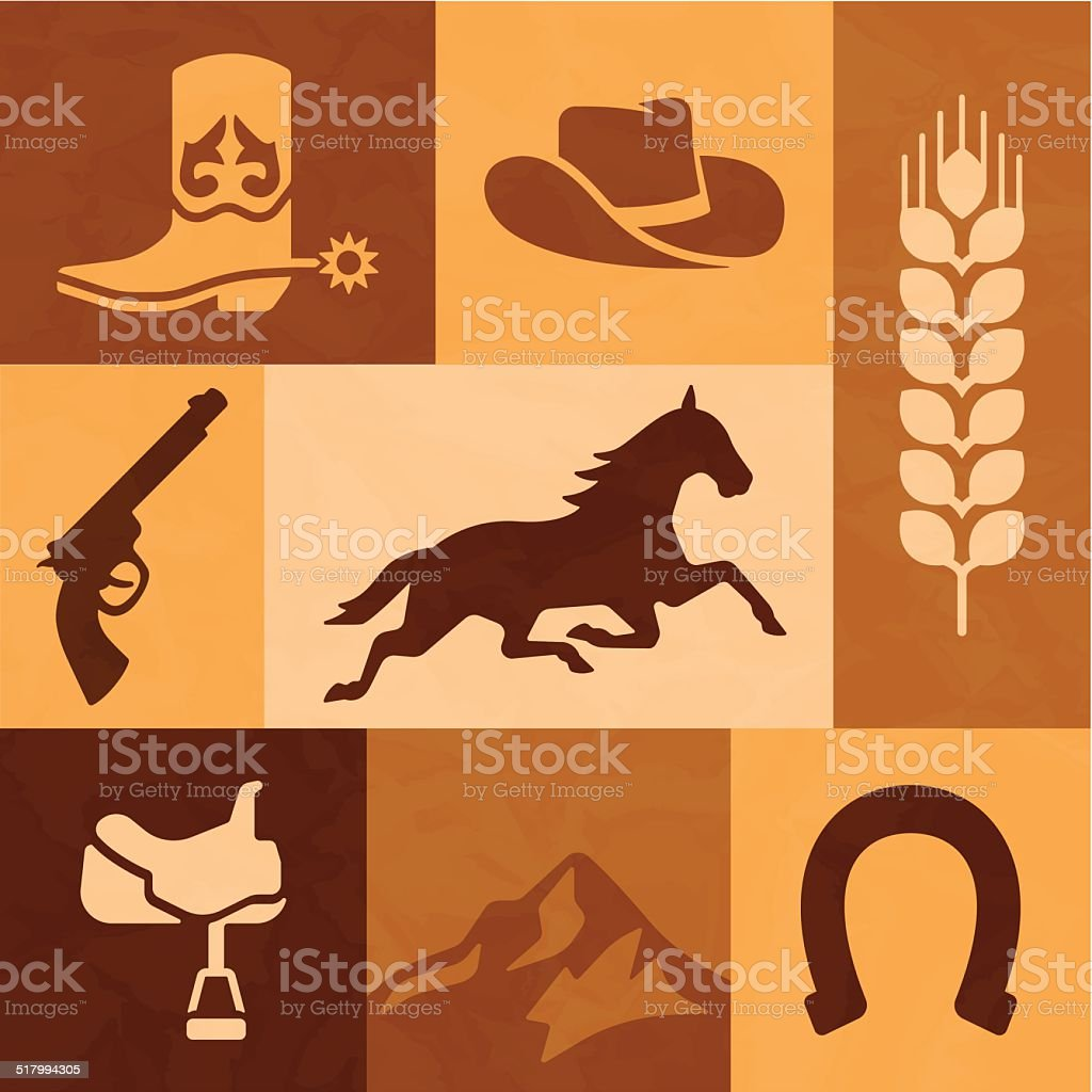 Western Cowboy and Horse Riding Elements vector art illustration
