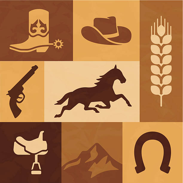 western cowboy und pferd reiten elemente - cowboystiefel stock-grafiken, -clipart, -cartoons und -symbole