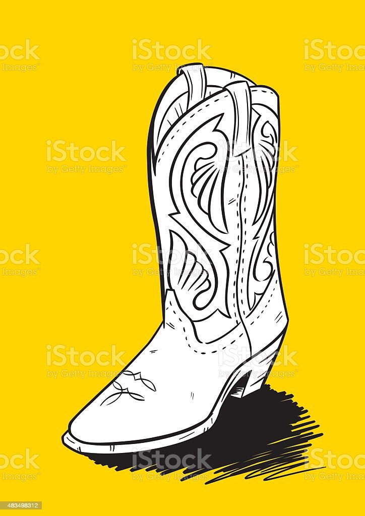 Western Cowboy Boot Hand Drawn vector art illustration