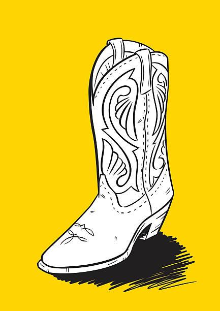 western-boot hand drawn - cowboystiefel stock-grafiken, -clipart, -cartoons und -symbole