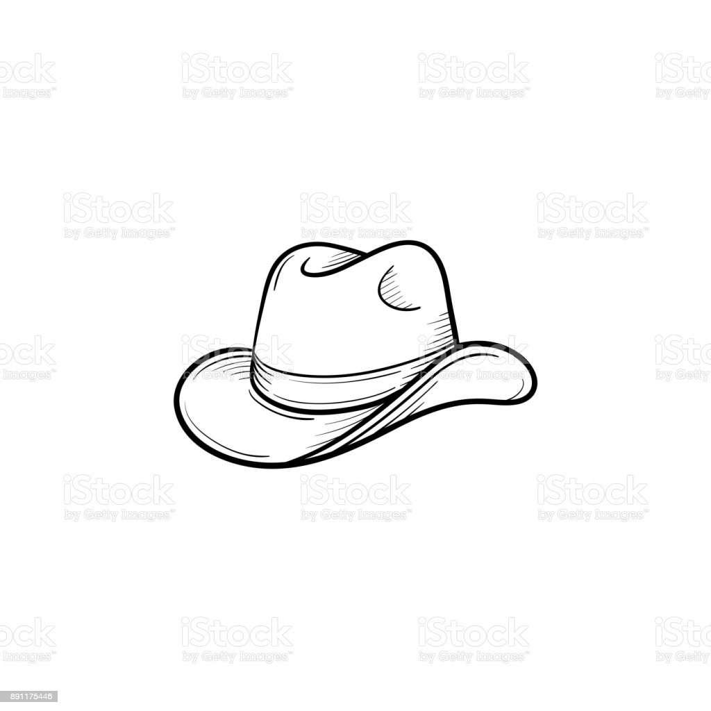 Western cowboy hat hand drawn sketch icon vector art illustration
