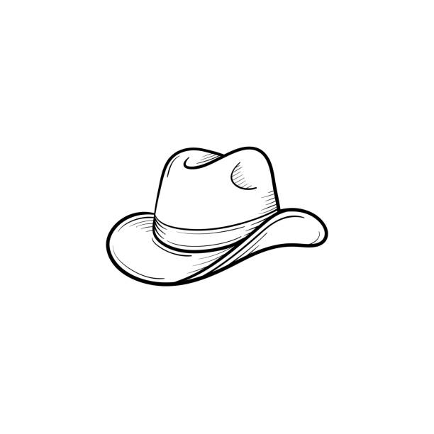 c2a3e3715c7d2 Western cowboy hat hand drawn sketch icon vector art illustration