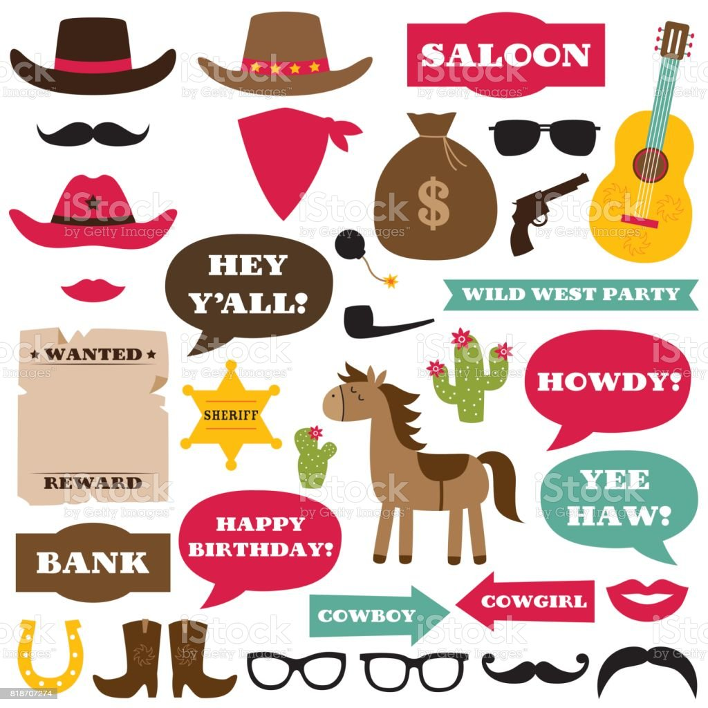 Western cowboy party photo booth props and decoration vector art illustration