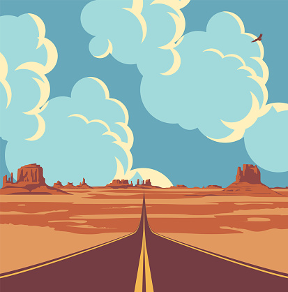 western desert landscape with empty straight road