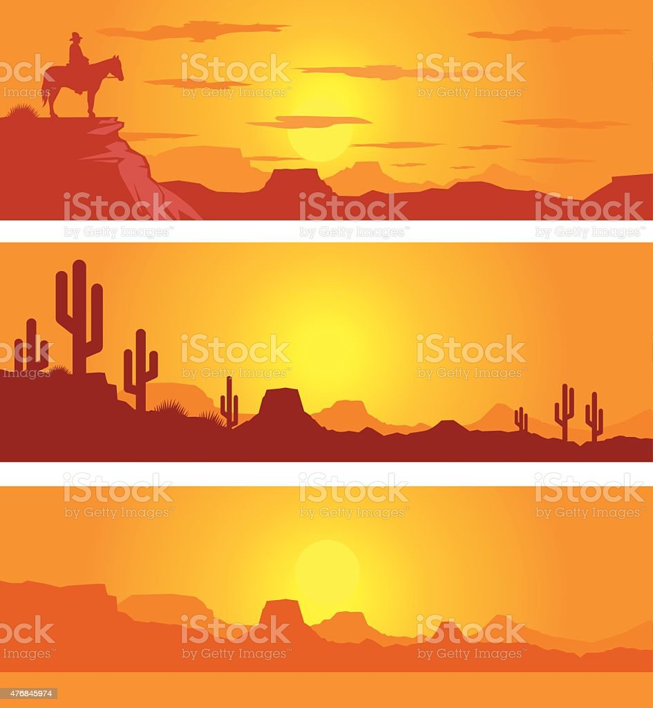 Western Desert Scene at Sunrise with Cowboy vector art illustration