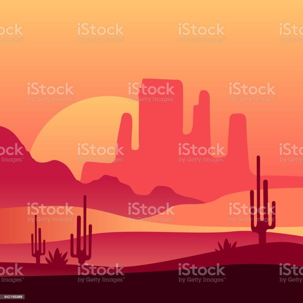 Ilustración de Fondo Atardecer Desierto Occidental Paisaje Natural ...