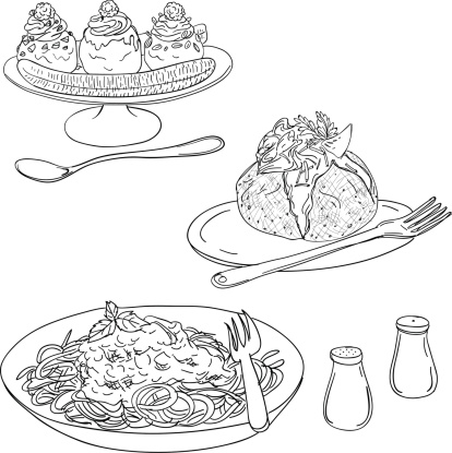 Western dishes in sketch style