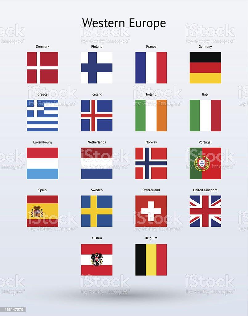 西ヨーロッパスクエア旗コレクション ベクターアートイラスト