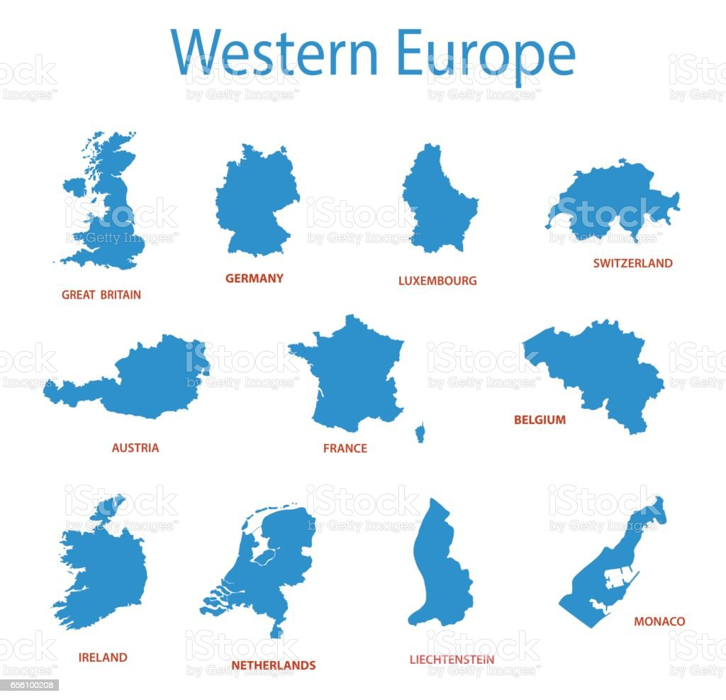 western europe - vector maps of territories vector art illustration