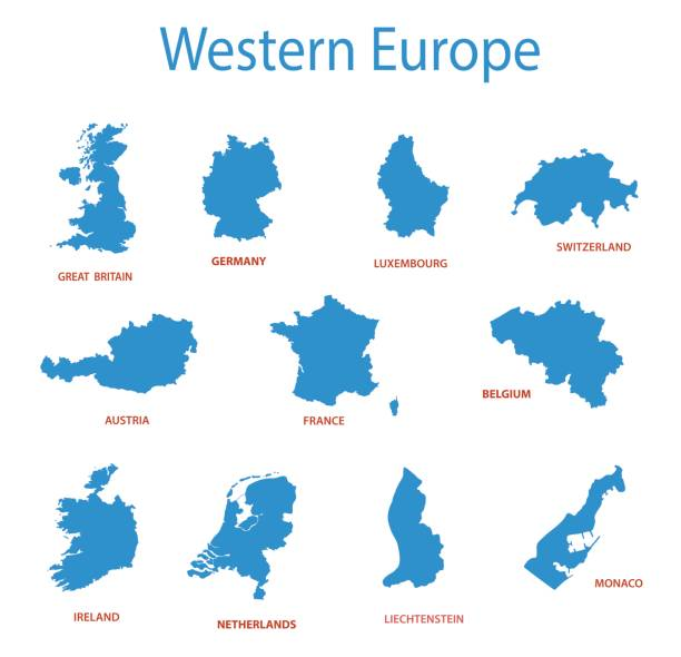 western europe - vector maps of territories - holandia stock illustrations