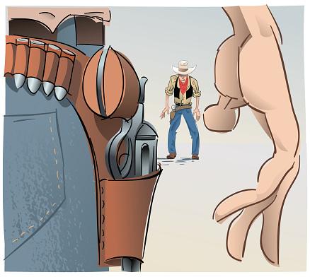Duel scene, western style.