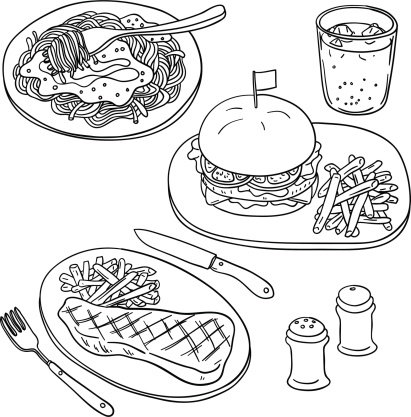 Western food in black and white