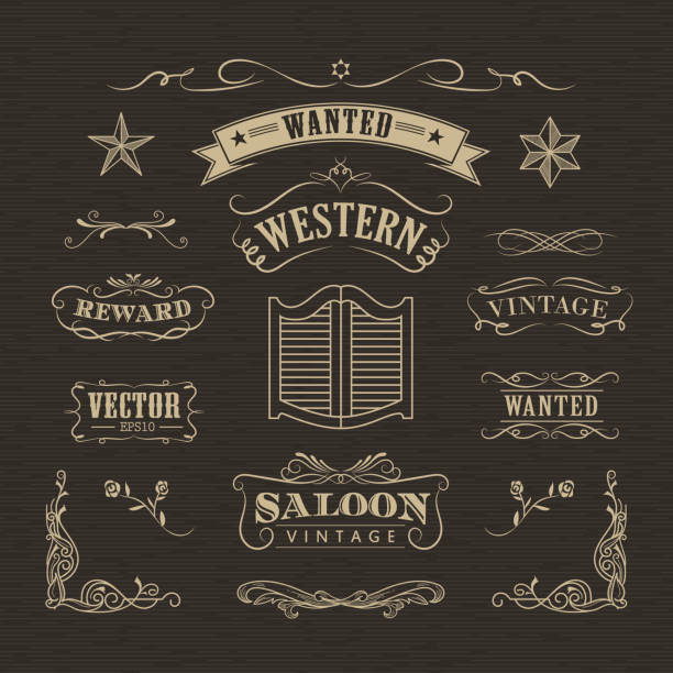 Western hand drawn banners vintage badge western hand drawn banners vintage badge vector southern usa illustrations stock illustrations