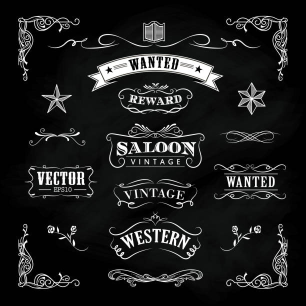 western hand drawn blackboard banners vintage badge vector - rodeo stock illustrations, clip art, cartoons, & icons