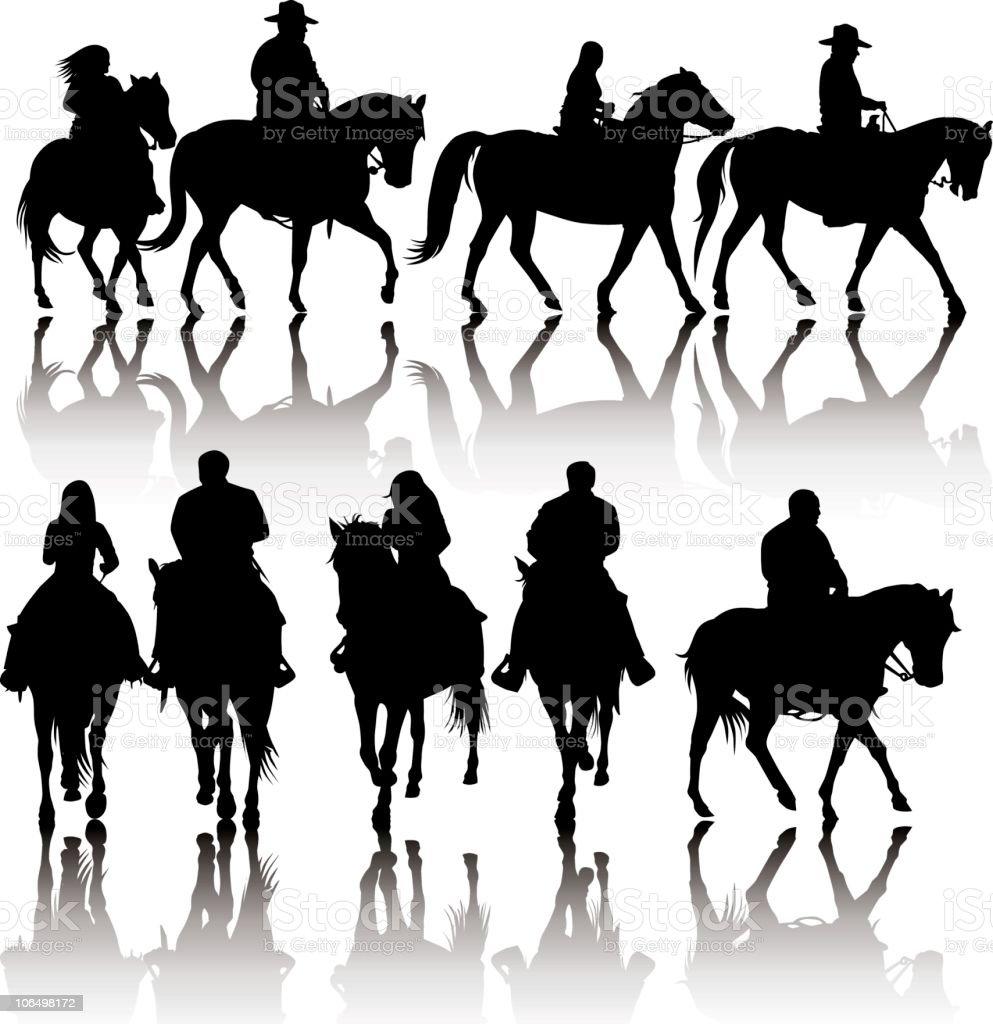Western Horse Silhouettes vector art illustration