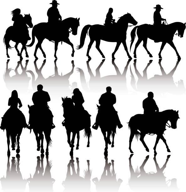 western pferd silhouetten - reiter stock-grafiken, -clipart, -cartoons und -symbole