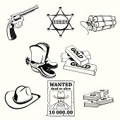western icons set