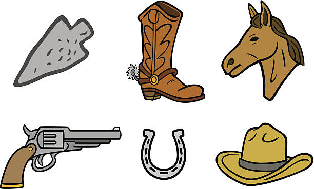 western-symbole - cowboystiefel stock-grafiken, -clipart, -cartoons und -symbole