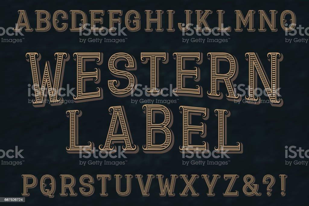 Letra de la etiqueta occidental. Aislado alfabeto inglés. ilustración de letra de la etiqueta occidental aislado alfabeto inglés y más vectores libres de derechos de anticuado libre de derechos