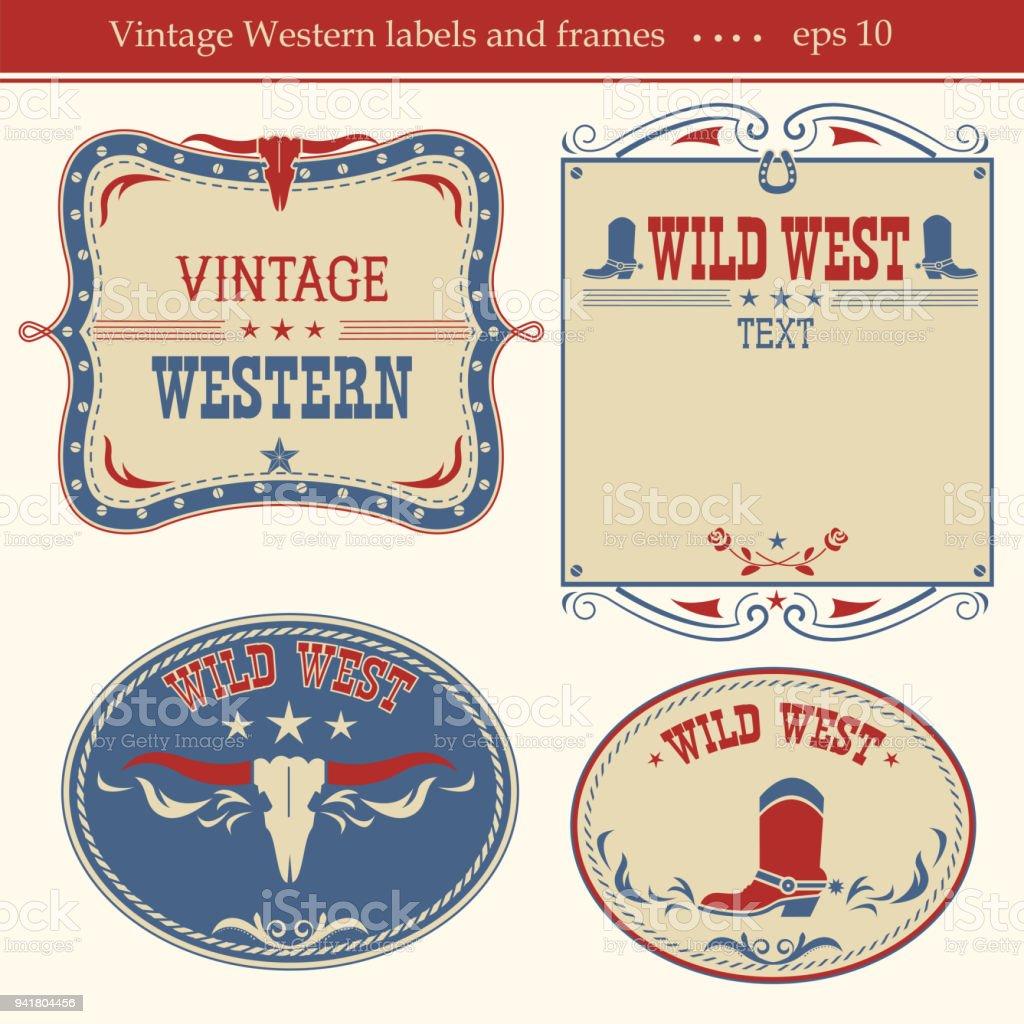 Rótulos ocidentais. Símbolos de vetor e placas para texto - ilustração de arte em vetor