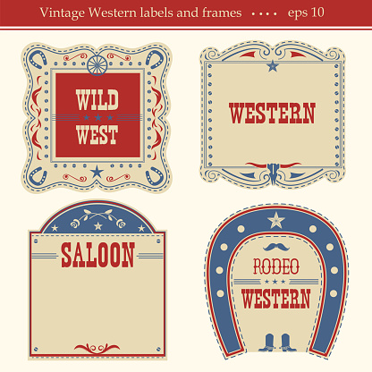 Western labels.Vector symbols and boards isolated on white