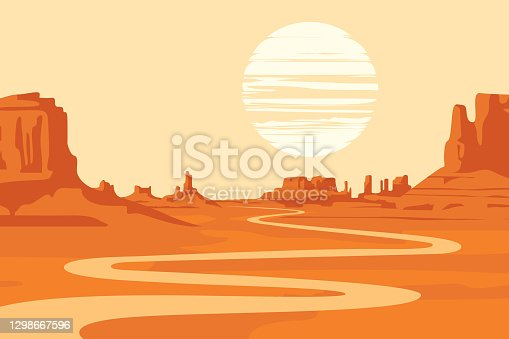 Hot summer landscape with deserted valley, mountains and winding river. Western scenic illustration. Decorative vector background on the theme of the Wild West nature
