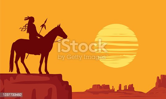 Vector landscape with wild American prairies and silhouette Native American on horseback with spear at orange sunset. Decorative illustration on the theme of the Wild West. Western vintage background