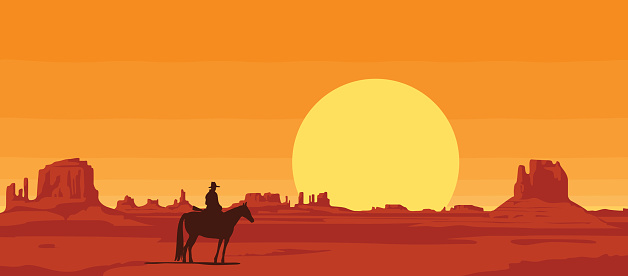Vector landscape with wild American prairies and silhouette of a cowboy riding a horse at sunset or dawn. Decorative illustration on the theme of the Wild West. Western vintage background