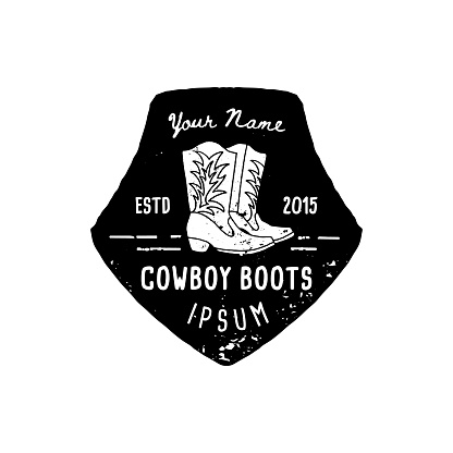 Western Logo cowboy boots hand Draw Grunge style. Wild West symbol sing of a cowboy boots and Retro Typography.
