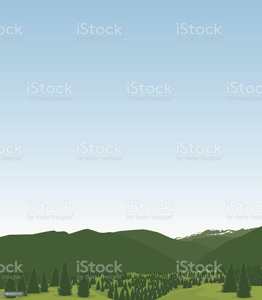 Western Mountain Scene vector art illustration