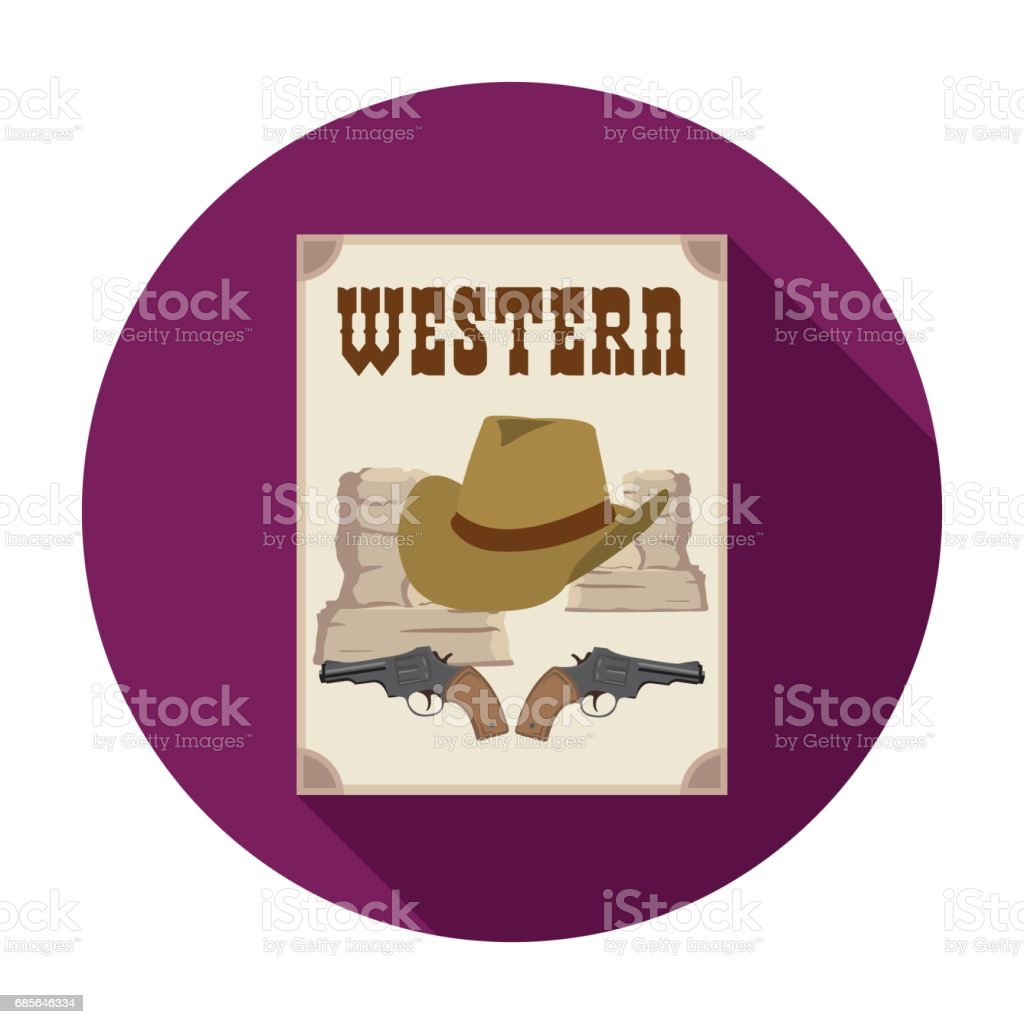 Western movie icon in flat style isolated on white background. Films and cinema symbol stock vector illustration. royalty-free western movie icon in flat style isolated on white background films and cinema symbol stock vector illustration 갈색에 대한 스톡 벡터 아트 및 기타 이미지