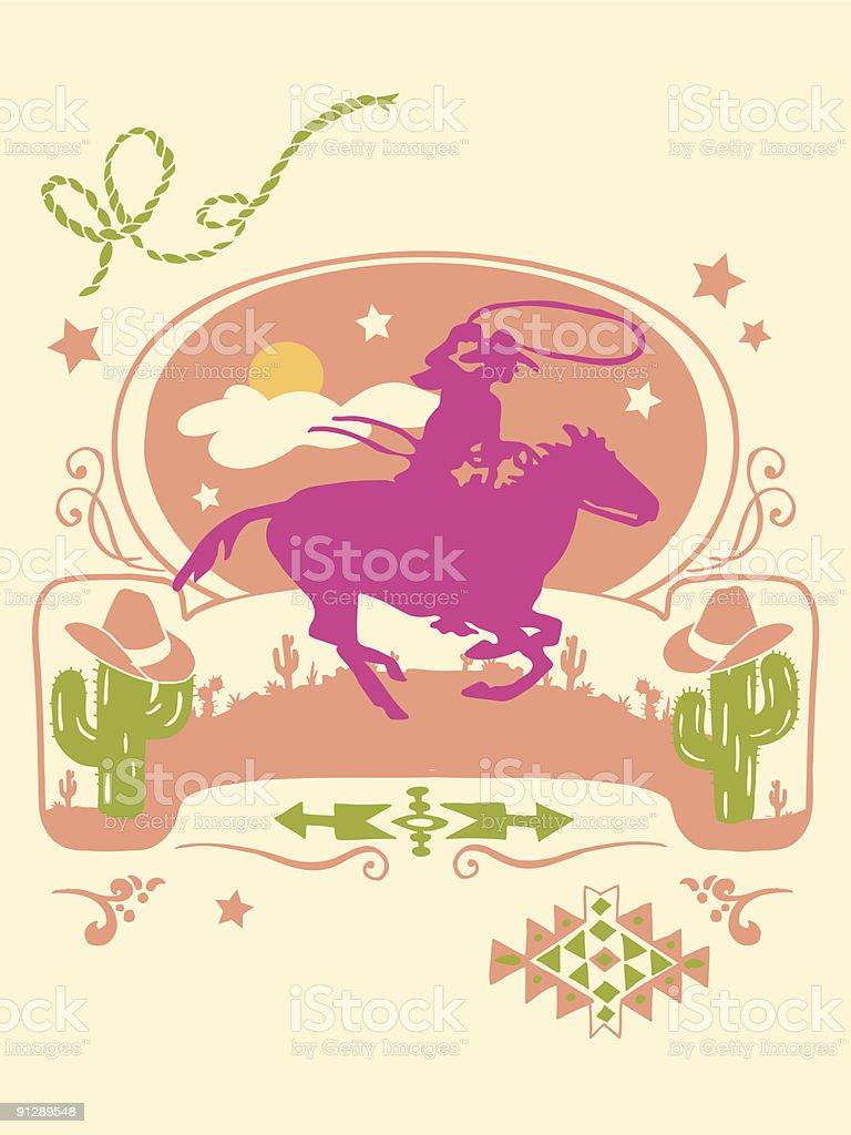 西洋のポスターベクトルイラスト アメリカ南西部のベクターアート素材
