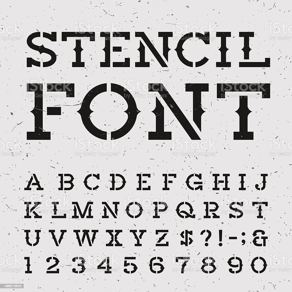 Western retro alphabet vector stencil font. vector art illustration