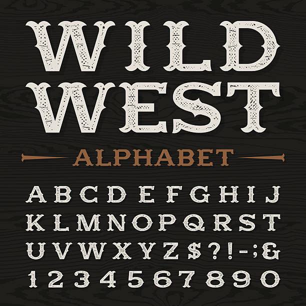 Western retro dirty alphabet vector font. vector art illustration
