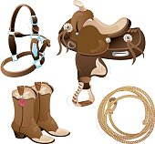 Vector illustration of a western saddle, halter, western boots and lasso.