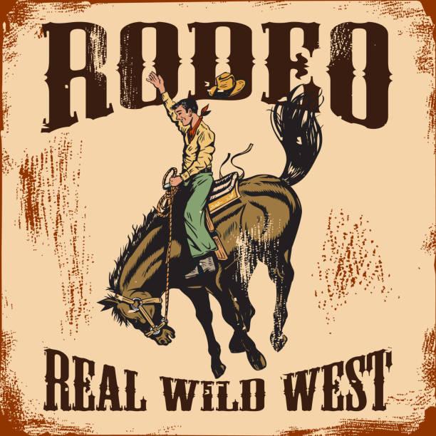 ilustraciones, imágenes clip art, dibujos animados e iconos de stock de muestra vintage de rodeo occidental, vaquero, caballo salvaje. - rodeo