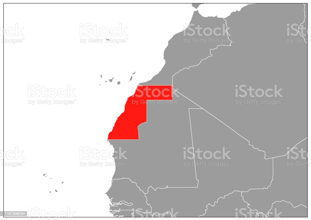 Image of: Western Sahara Map On Gray Base Stock Illustration Download Image Now Istock