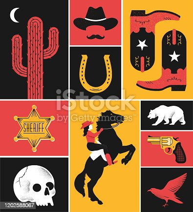 A collection of western illustrations.