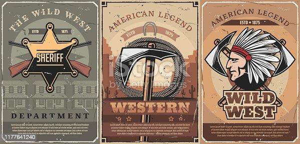 istock Western sheriff star, guns and tomahawk 1177641240