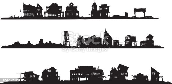 Silhouette drawing of three rows of houses, western style.