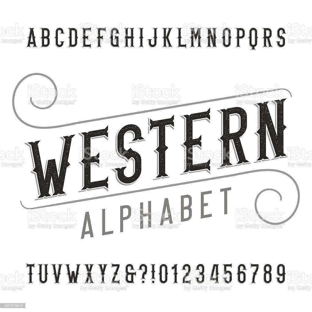 Western style retro alphabet font vector art illustration
